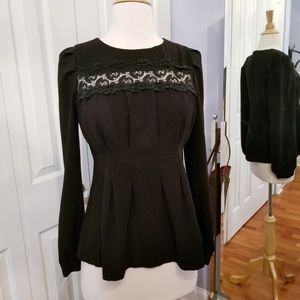 Tops - Front Chest Lace Blouse with pleated Waist S
